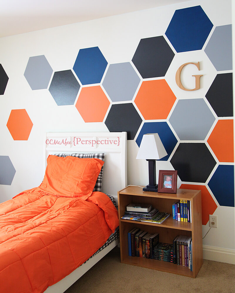 Bold, Bright Hexagon Accent Wall for Teen