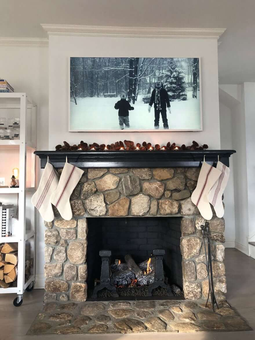 Modern Traditional Fireplace with Glossy Black Painted Mantel