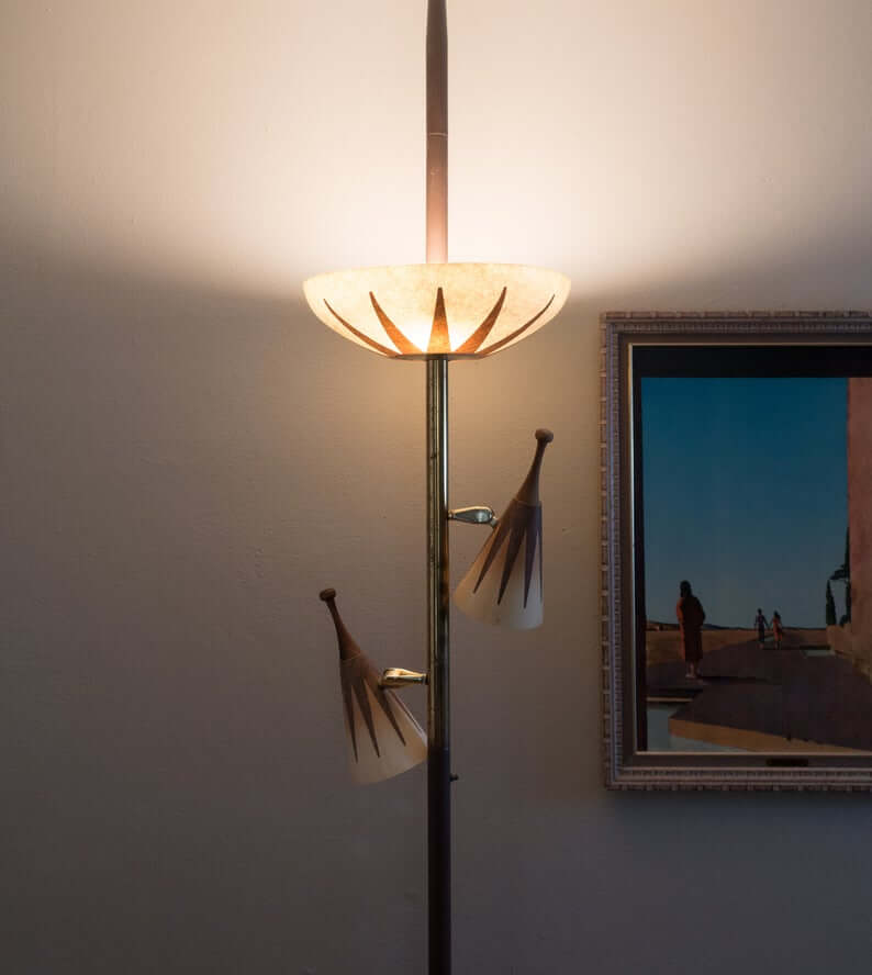 Brass Art Deco Torchiere Tension Pole Lamp