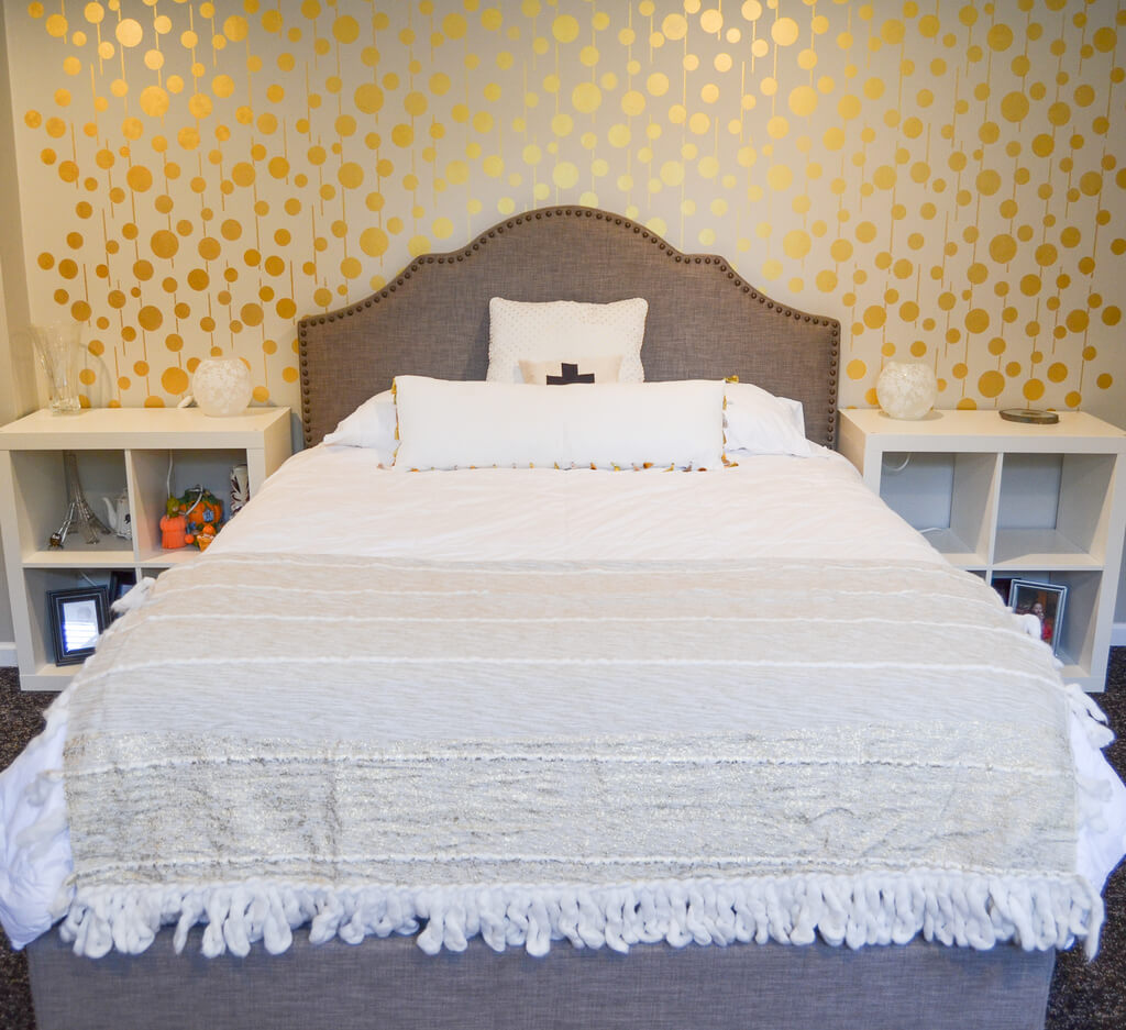 Gold Stenciled Bedroom Accent Wall