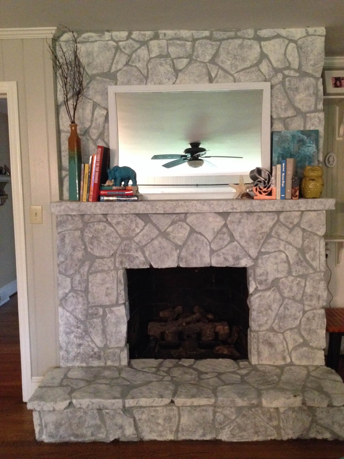How To Paint Stone Fireplace by www.humbleandbold.com ...