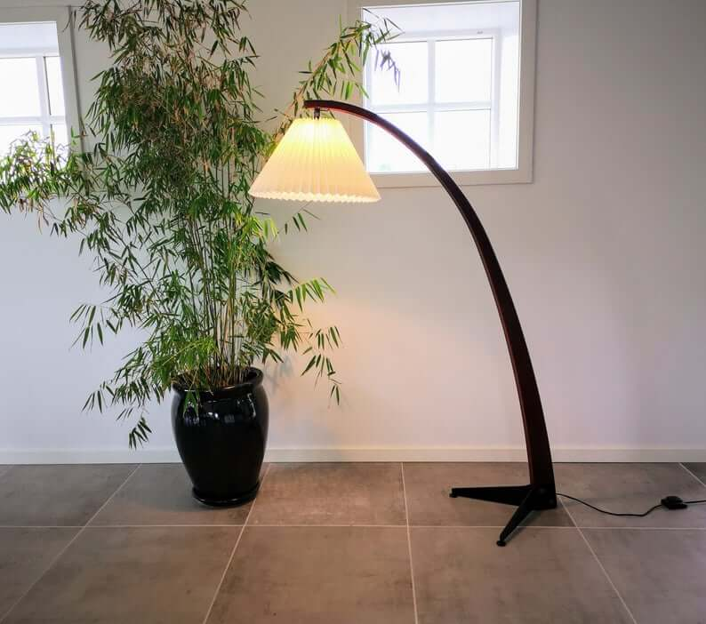 Dramatic Arched Floor Lamp with Pleated Lampshade