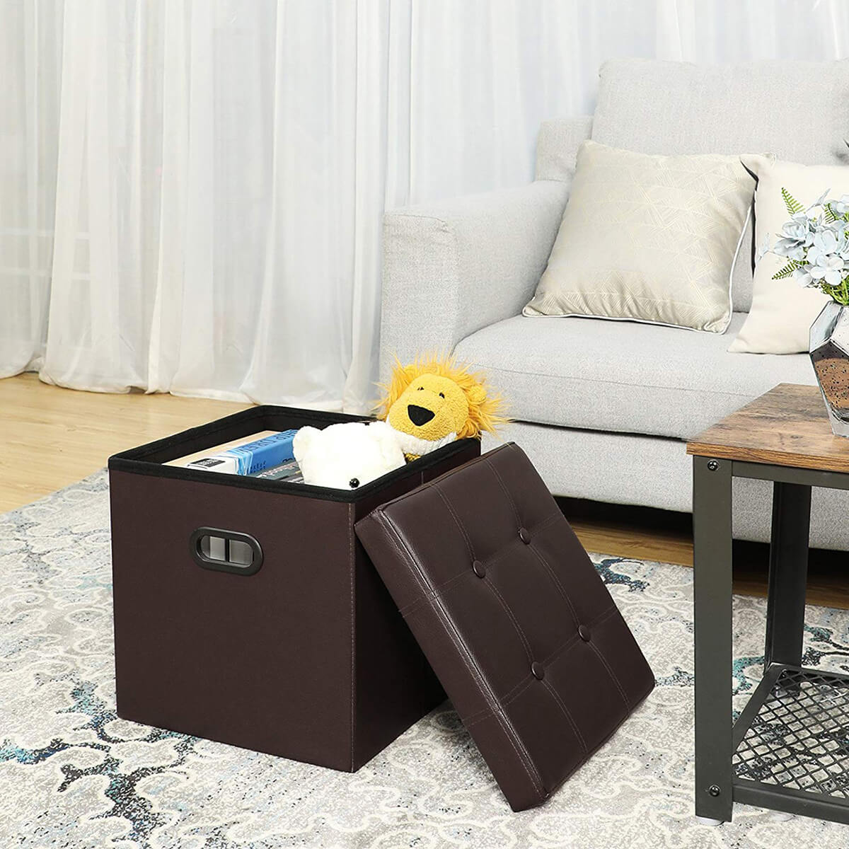 Portable Folding Storage Ottoman with Handles