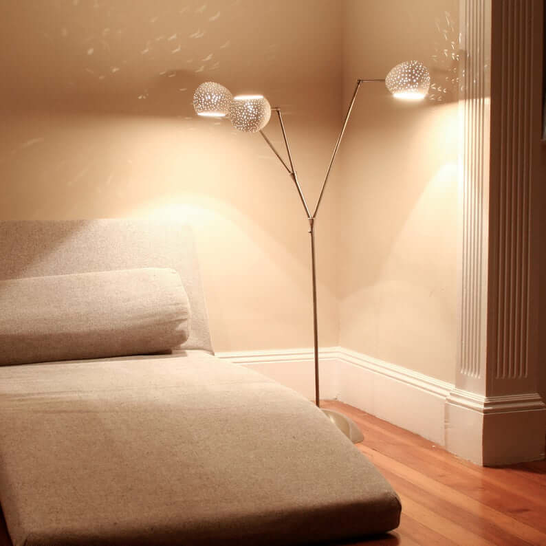 Glamorous Tree Lamp with Three Perforated Shades