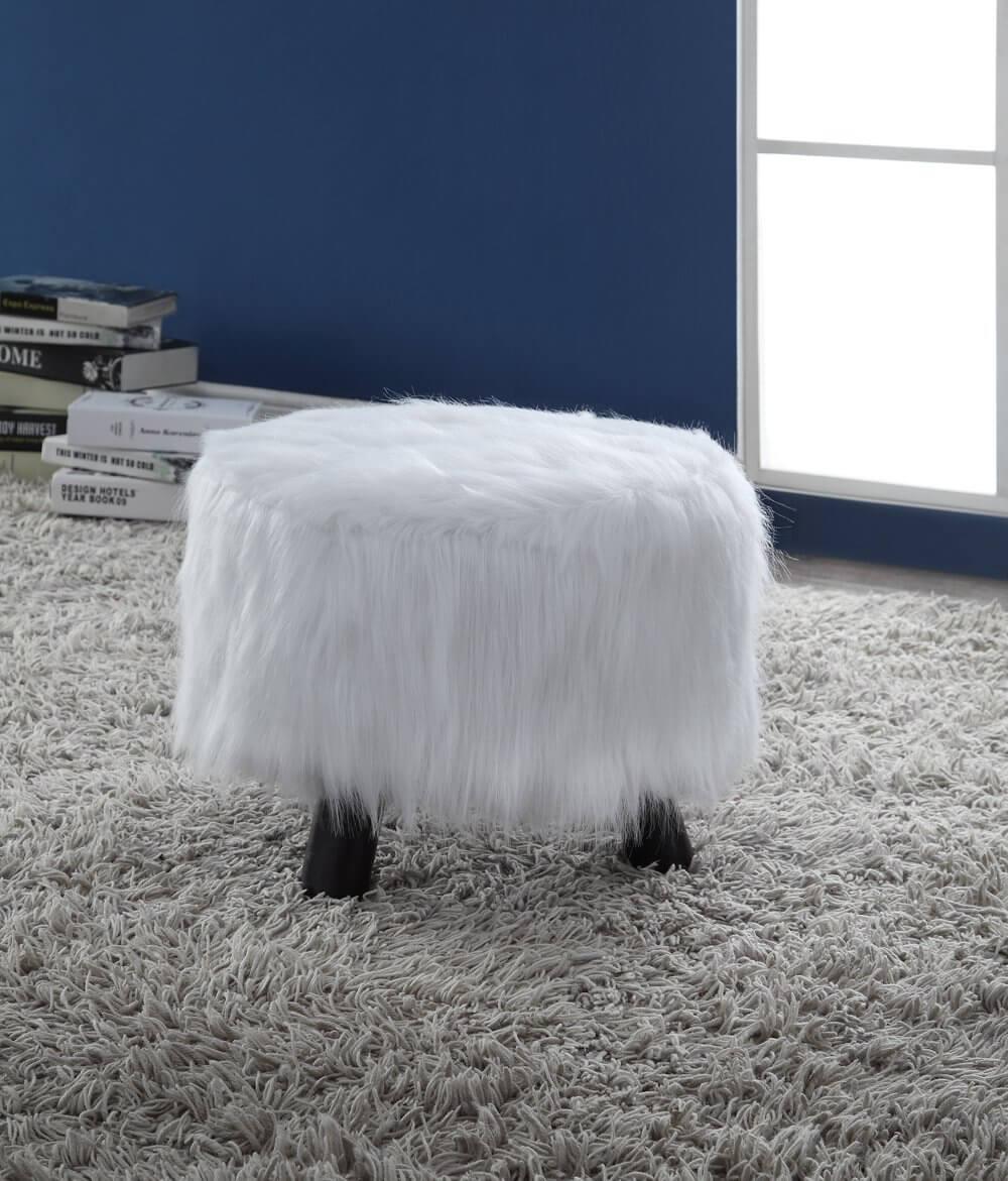 Beautiful White Faux Flokati Plush Ottoman