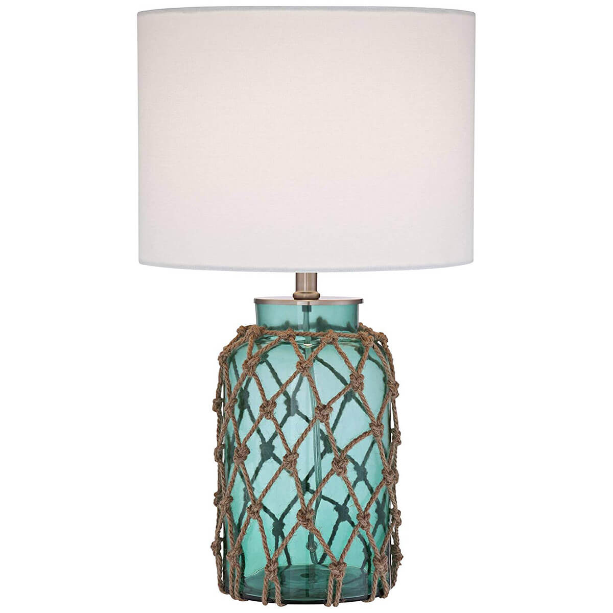 Aquatic Blue Glass and Natural Rope Lamp