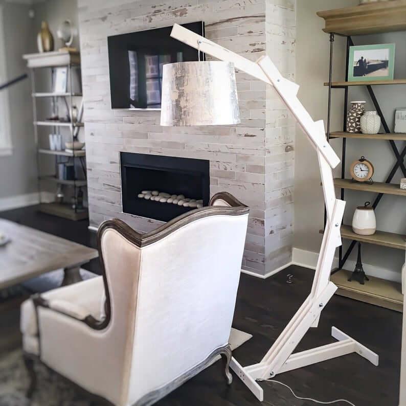 Modern Rustic White Wood Standing Lamp