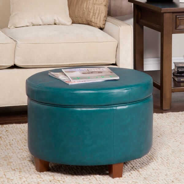 Round Leatherette Storage Ottoman with Lid
