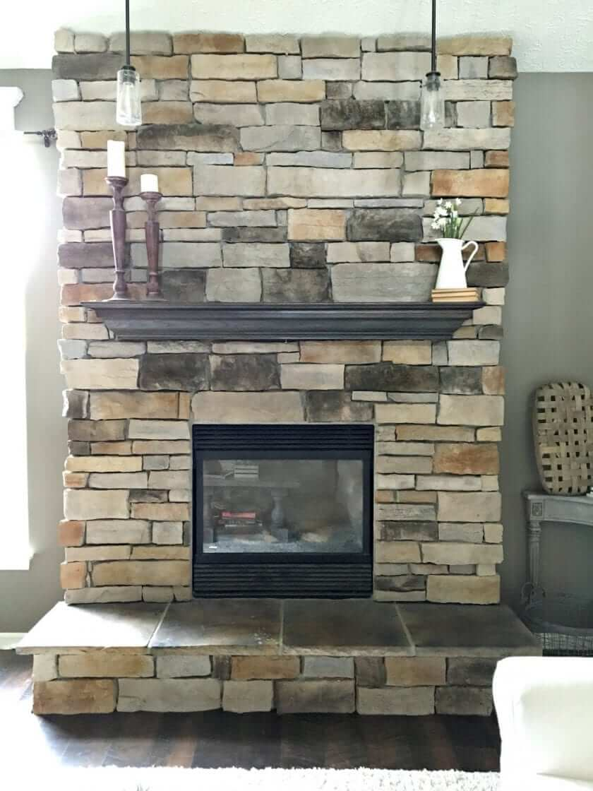 Favorite Painted Neutral Stone Fireplace Renovation