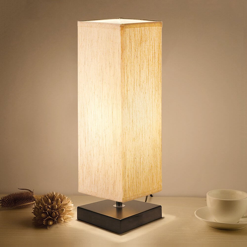 Warm Rectangular Lamp with Flaxen Shade