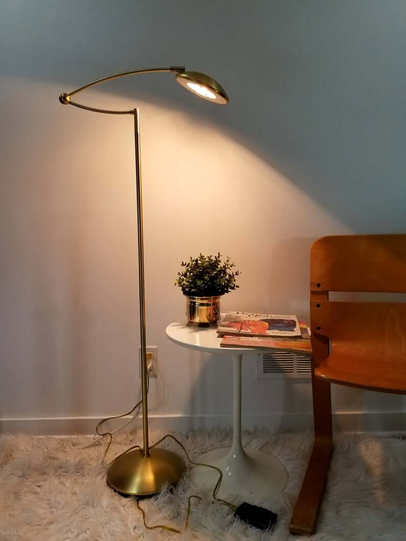 Brass Floor Lamp with Jointed Arm