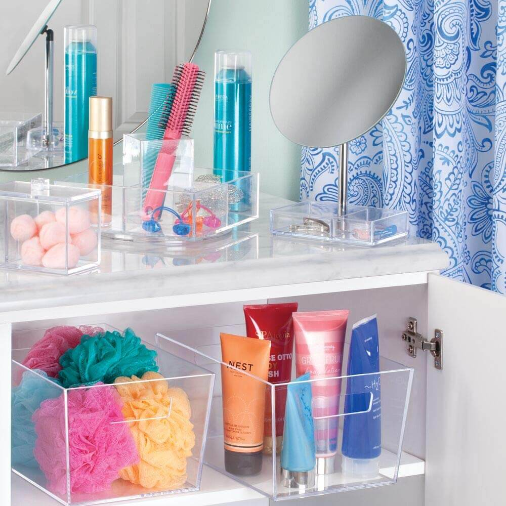 Clear Small Bathroom Storage Bin