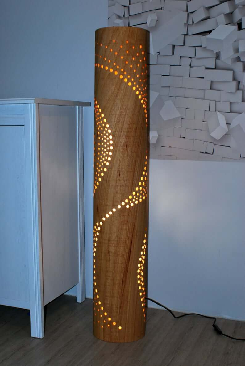 Wood Cylinder Lamp with Decorative Hole Design
