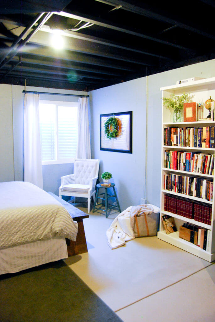 A Guest Bedroom Retreat in the Basement