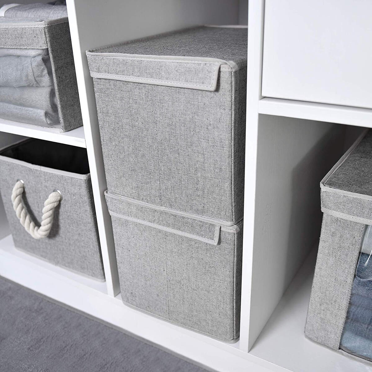 Gorgeous Gray Canvas Boxes and Bins
