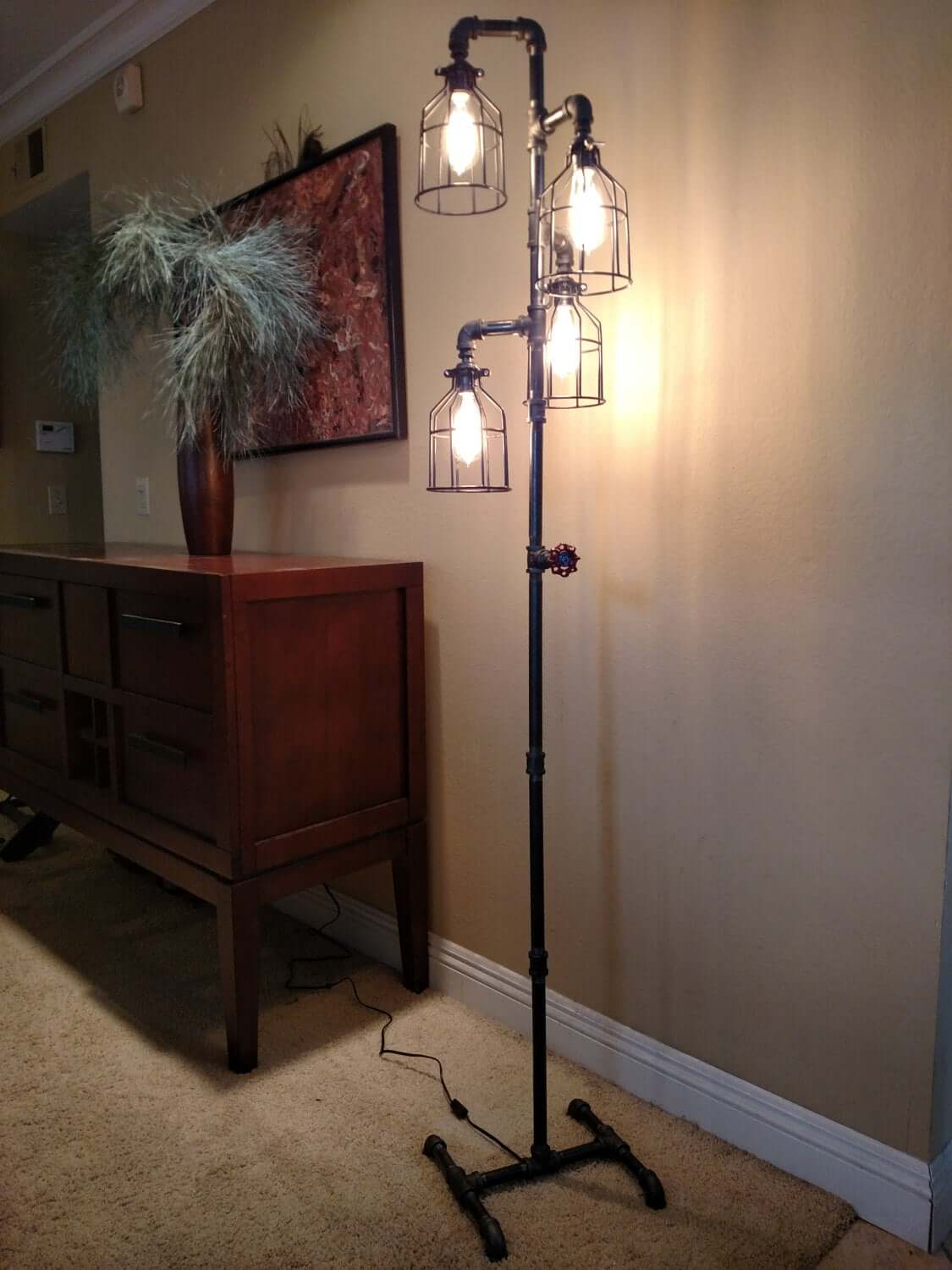 Four Armed Standing Lamp with Cage Shades