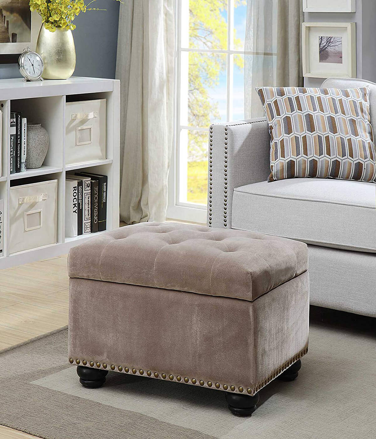 Convenience Concepts Storage Ottoman in Velvet Taupe