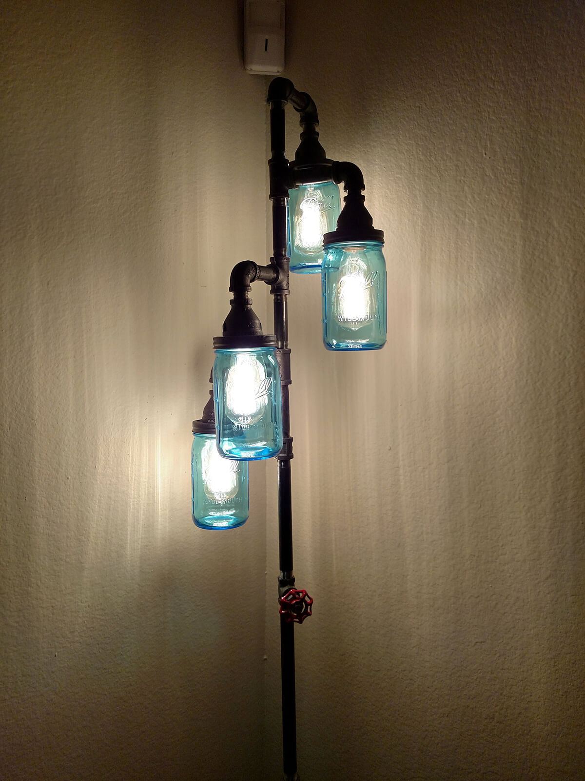 Mason Jar Lampshades on Metal Lamp
