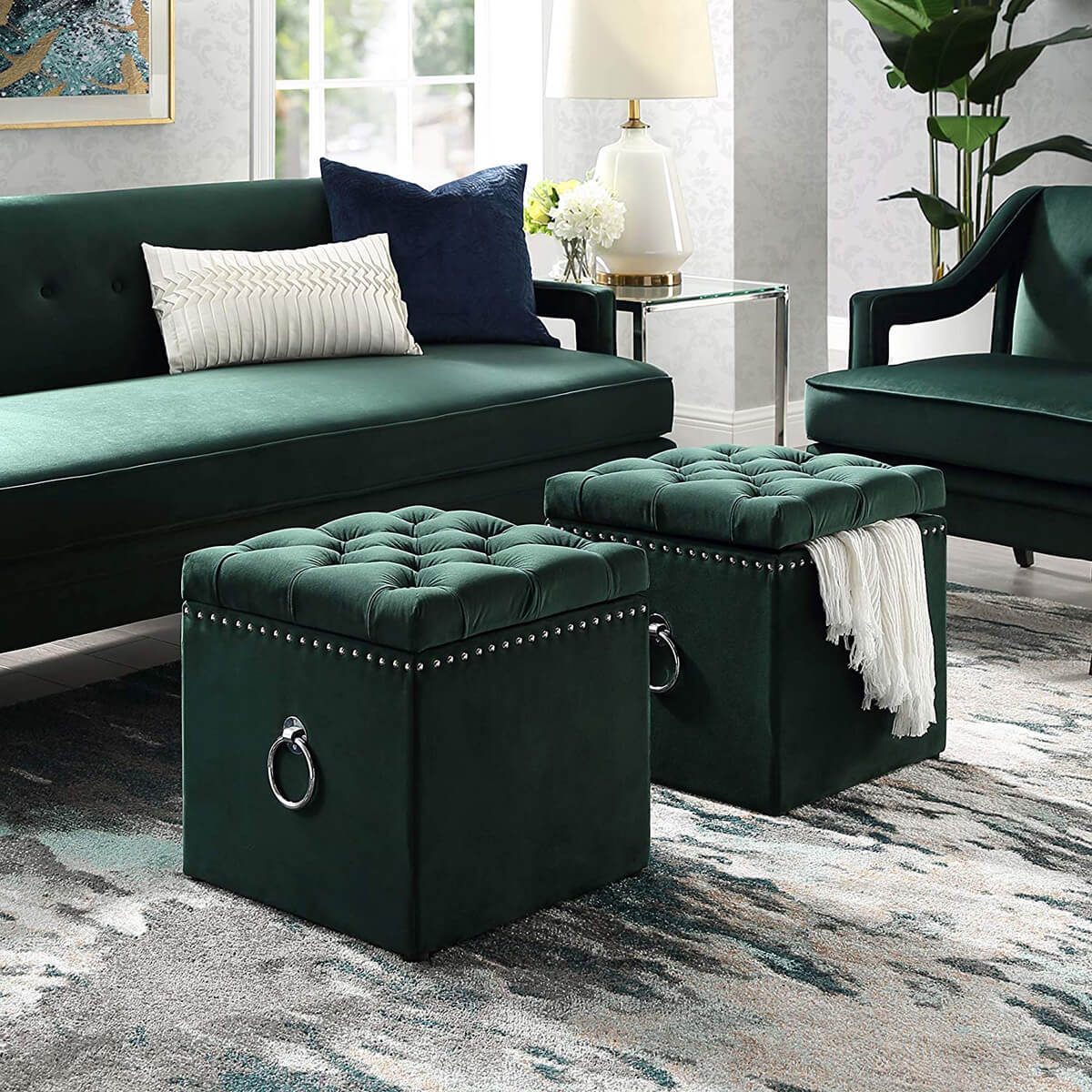 Green Velvet Storage Ottoman with Nail Head Detailing
