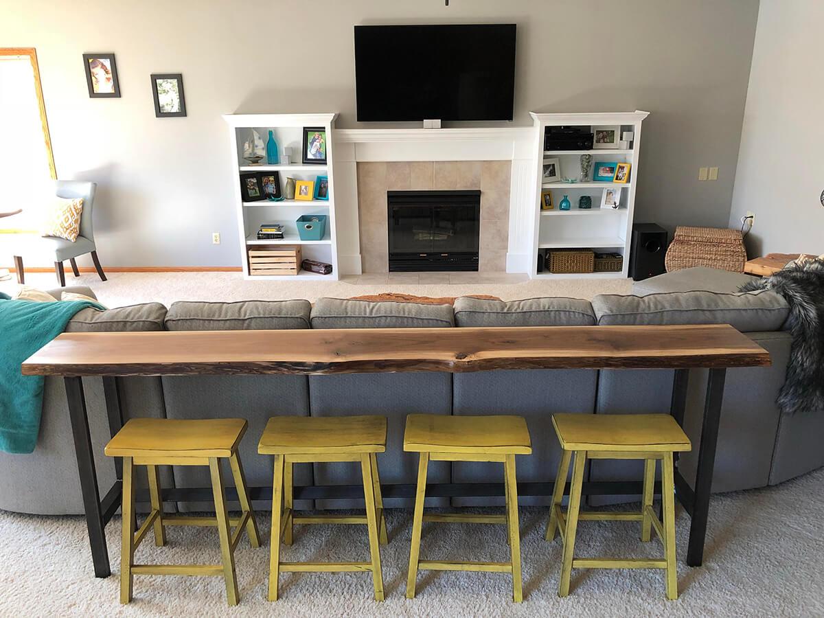 A Live Edge Bar Table the Whole Family Can Enjoy