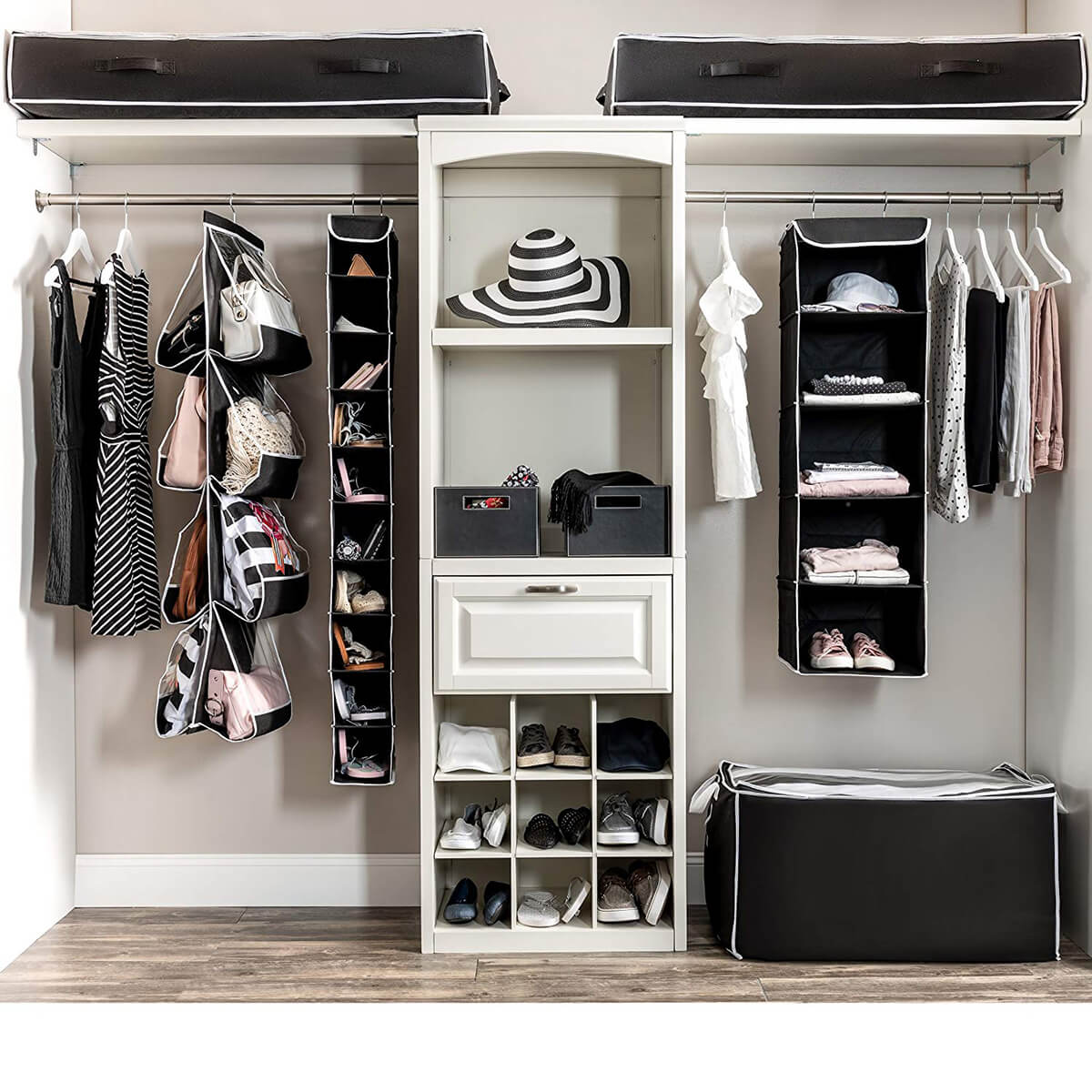 Fabulous Complete Black and White Closet Organizers