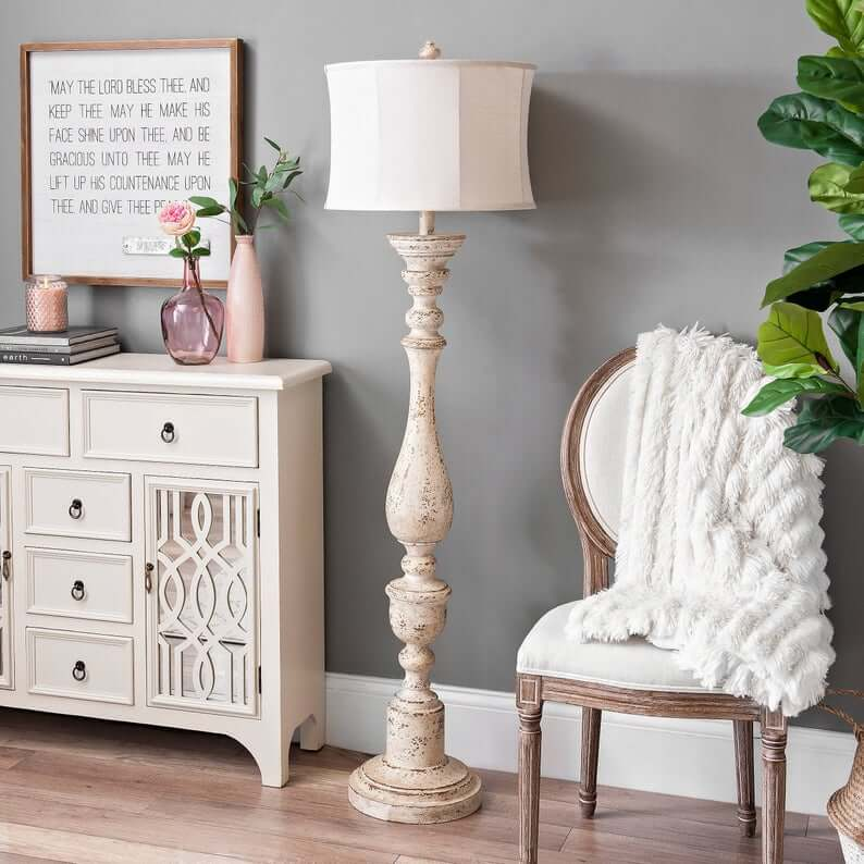 Statuesque Cream Spindle Lamp with White Lampshade