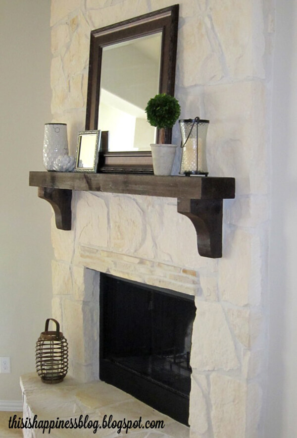 Modern Farmhouse White Stone Fireplace with Mahogany Accents