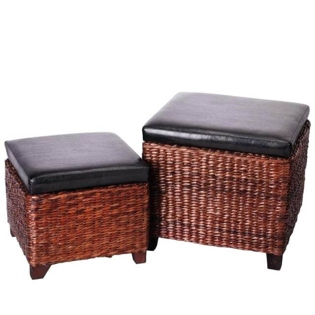 Cube Shaped 2-Piece Hassock with Lift Top