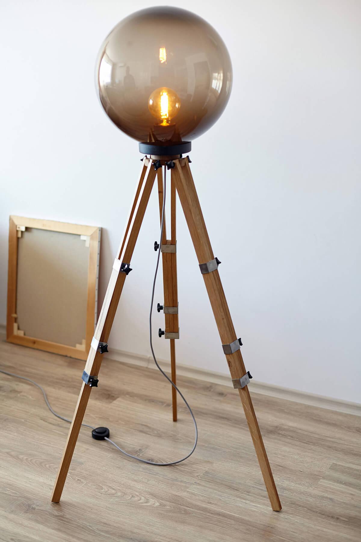 Awesome Tripod Lamp with Large Glass Globe