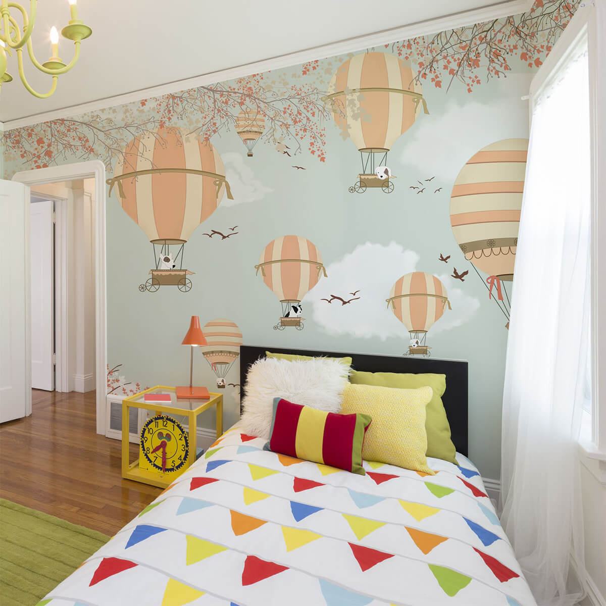 A Whimsical Hot Air Balloon Wall Mural