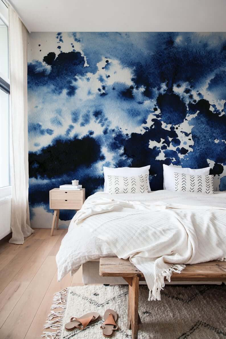 Beautiful Watercolor Peel-and-Stick Wallpaper for Bedroom