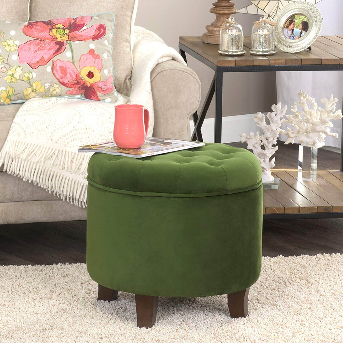 Round Velvet Tufted Ottoman with Removable Lid for Storage