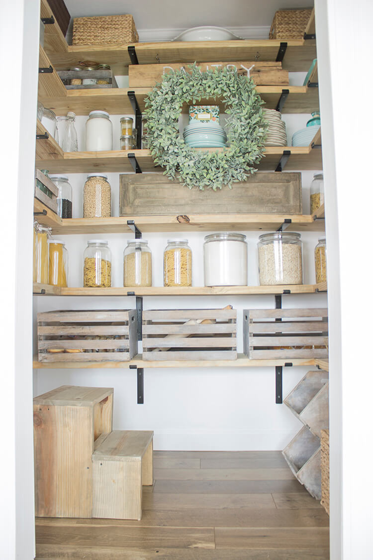 Odd Space to Country Pantry Storage Idea