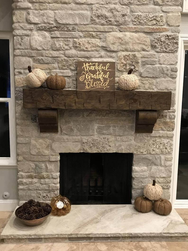 Weathered Pine Large Fireplace Mantel