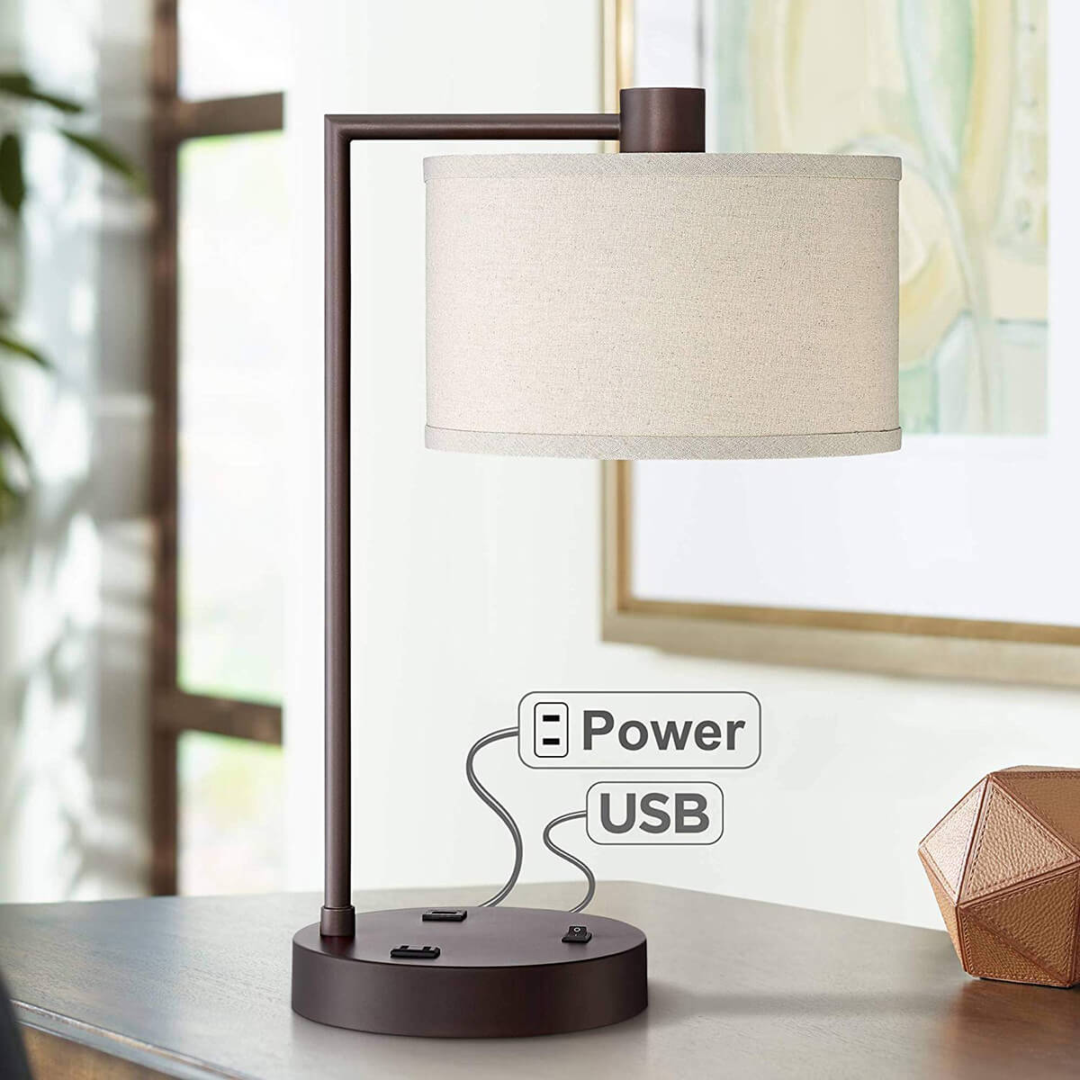 Retro Hanging Lamp with Charging Outlets