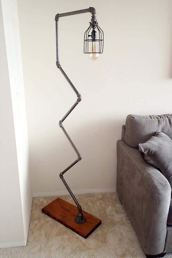 Quirky Zig-Zag Metal Gooseneck Floor Lamp