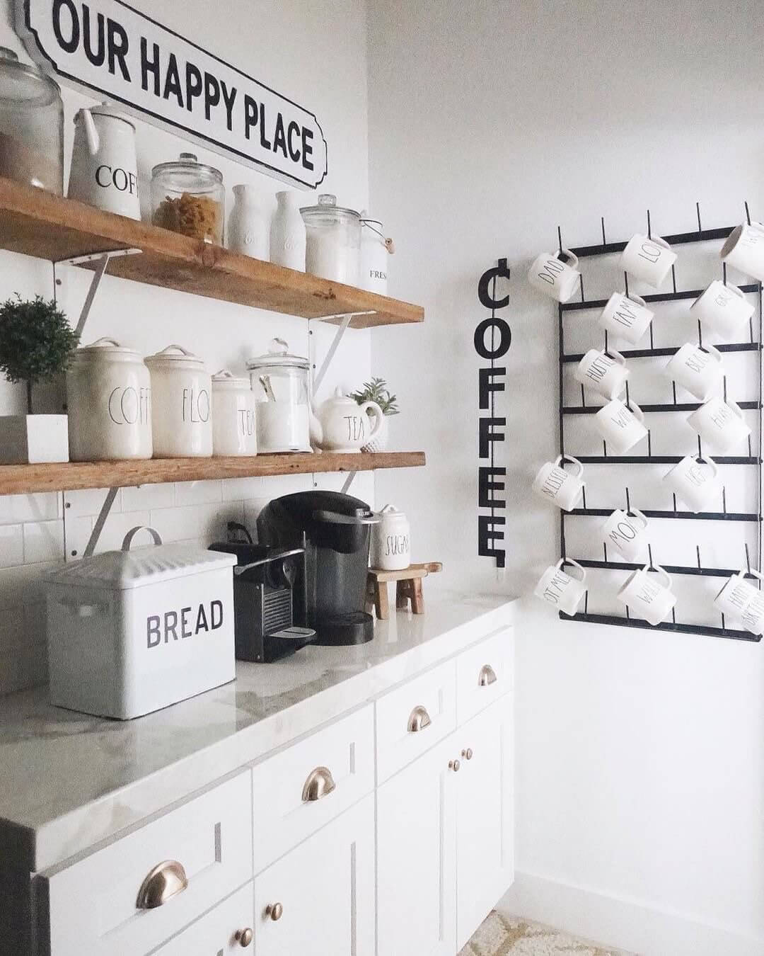 Our Happy Place Coffee Station and Mug Rack