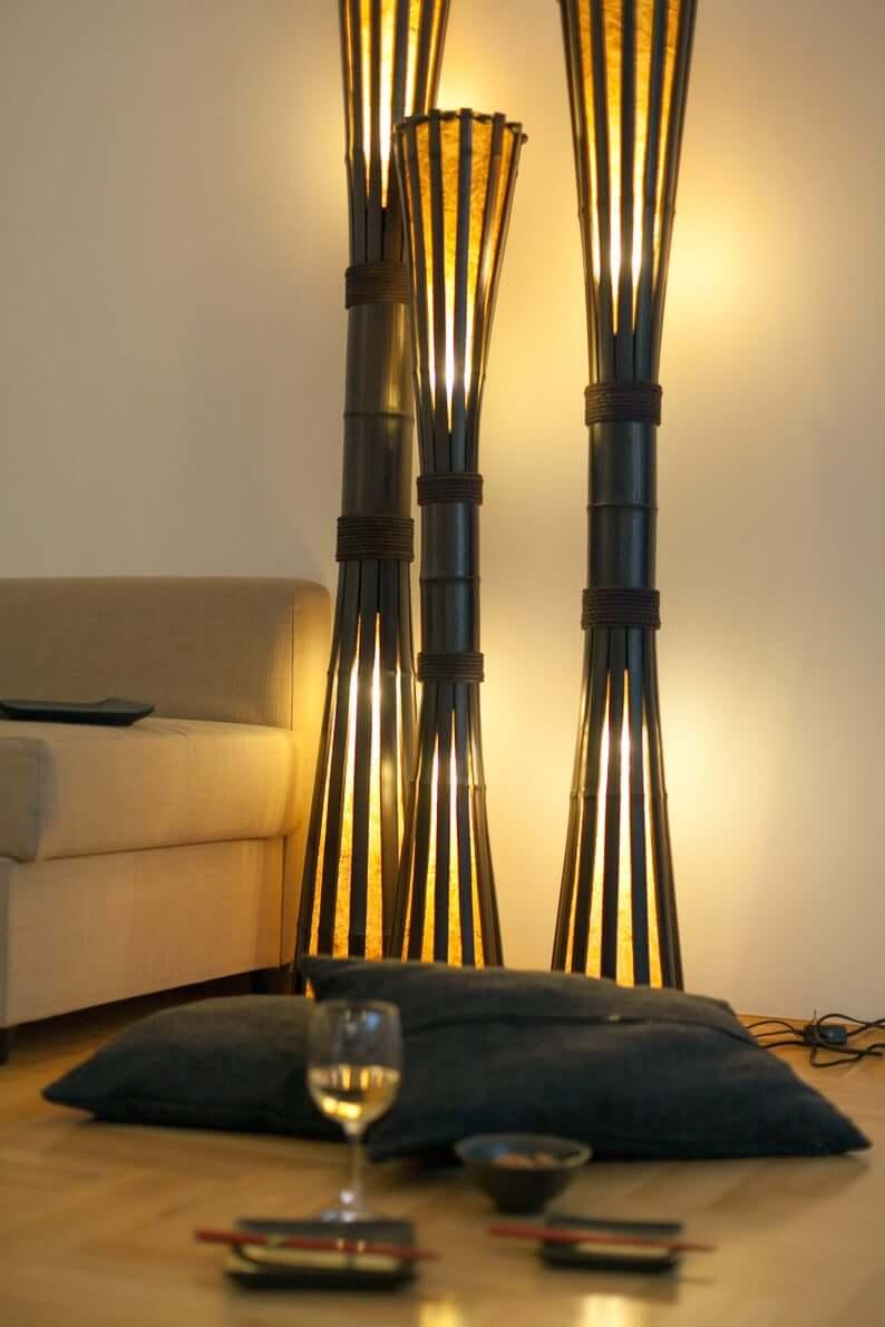 Chic Bamboo Hourglass Floor Lamp