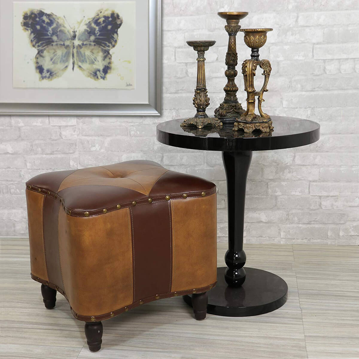 TIC Collection Faux Leather Morocco Style Ottoman