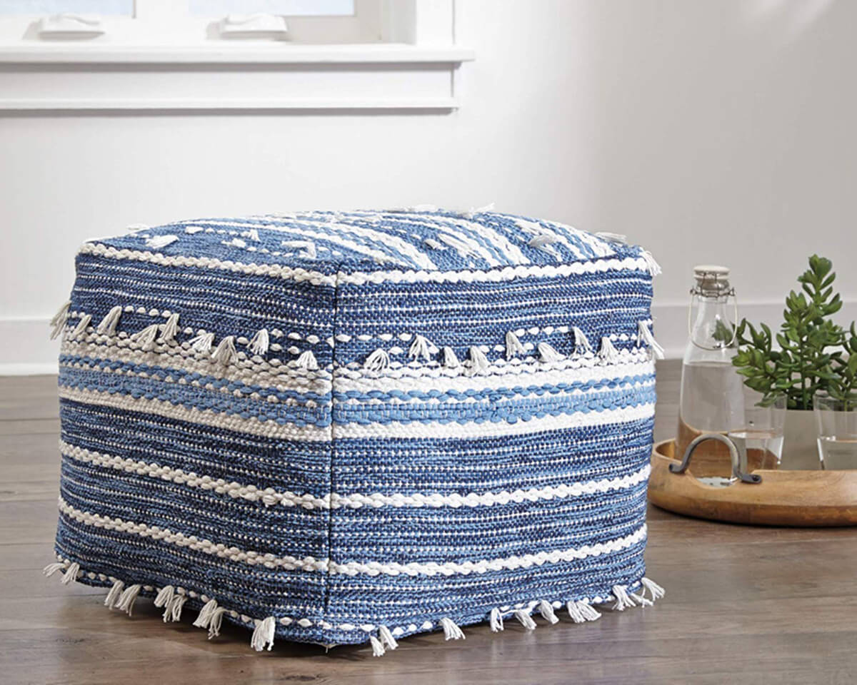 Ashley Furniture Contemporary Blue and White Pouf