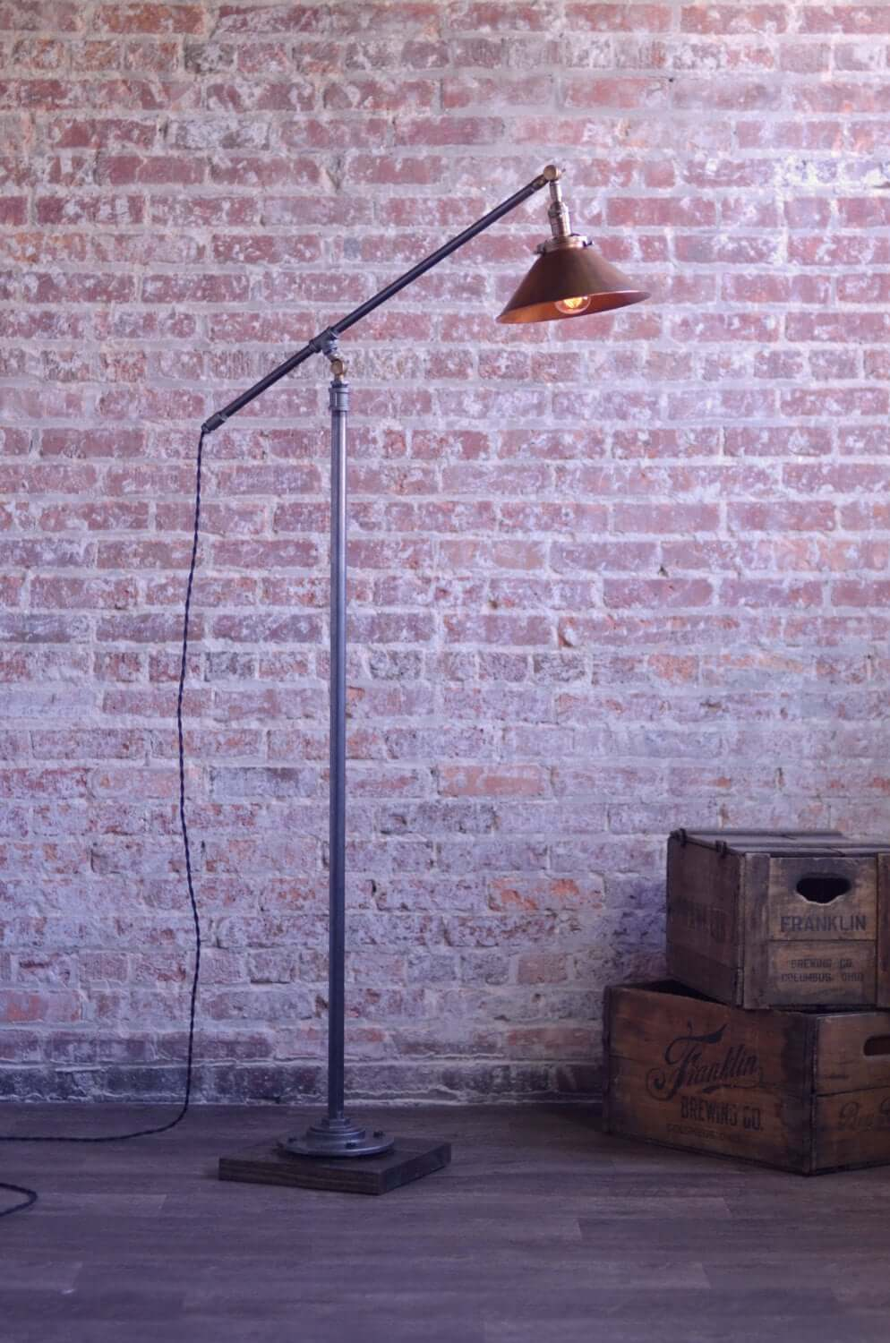 Cantilever Floor Lamp with Metal Cone Shade