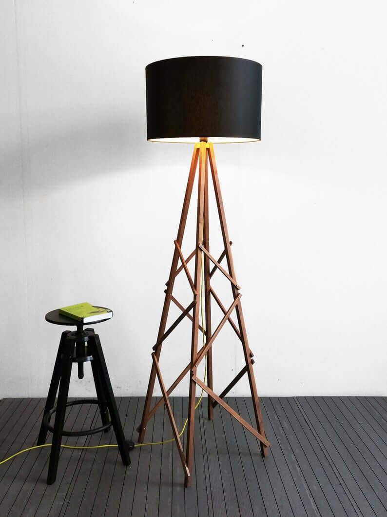 Four Legged Wooden Lamp with Black Shade
