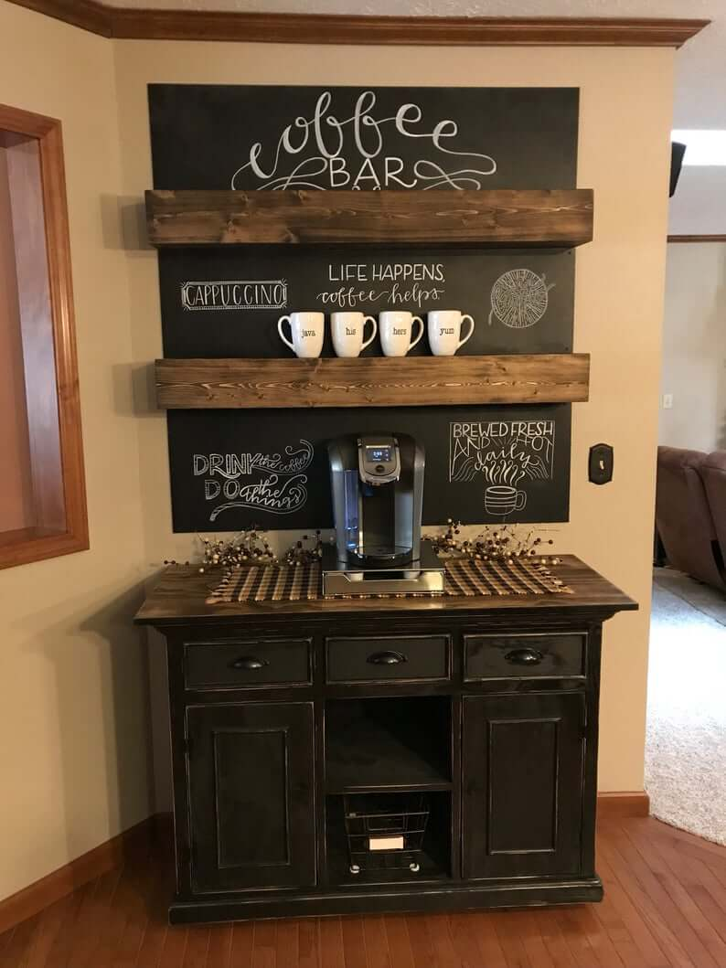 Powerful Chalkboard Wall with Solid Wood Shelves