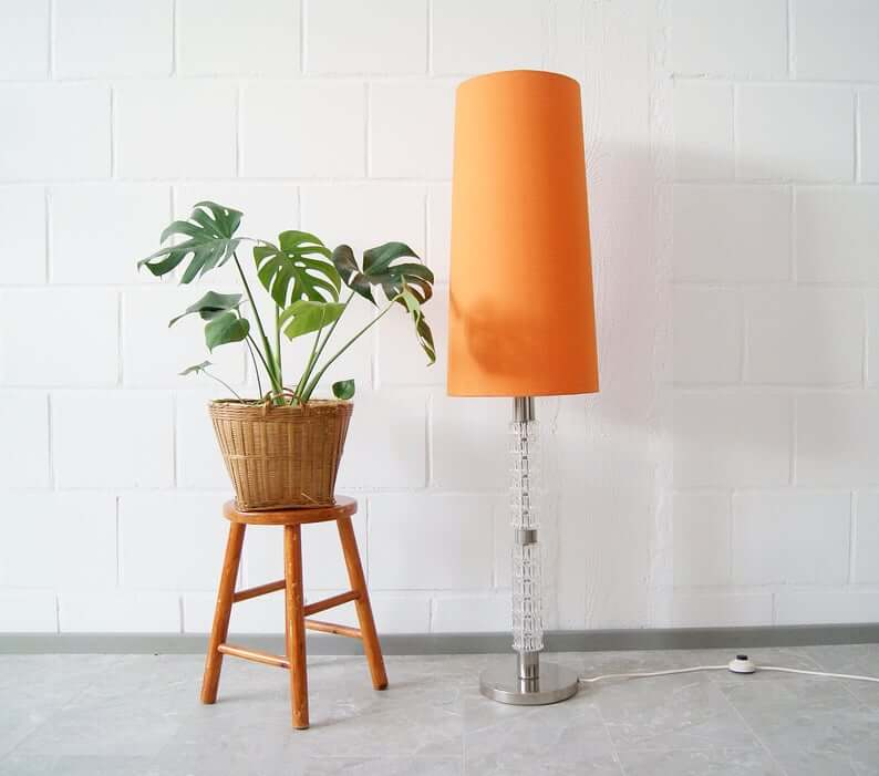 Orange Lamp on Chrome and Glass Stand