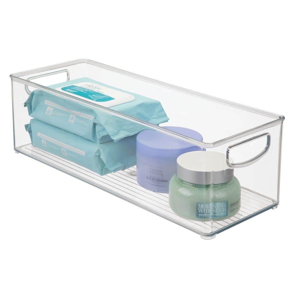 Clear Plastic Stackable Small Bathroom Storage Bins