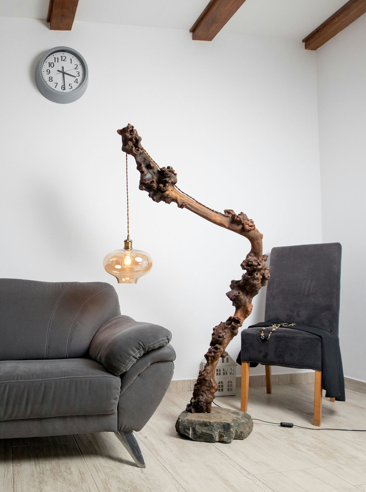 Branch Shaped Arc Lamp with Hurricane Shade