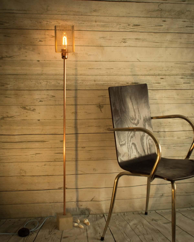 Tubular Bulb on Copper Pipe Lamp