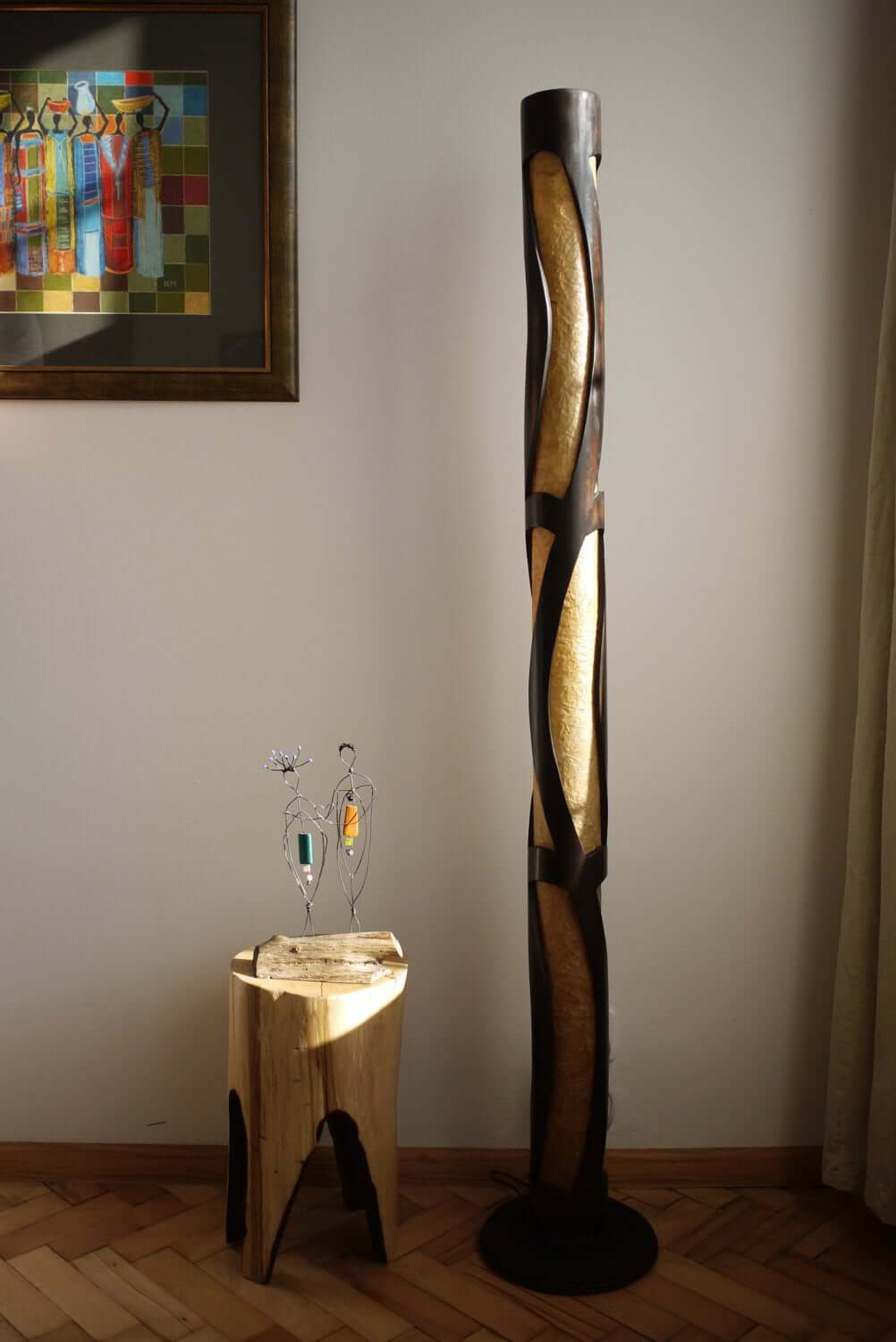 Gorgeous Bamboo and Wood Standing Lamp