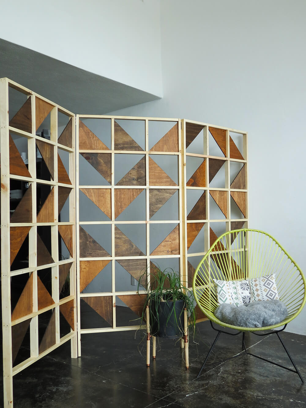 Modern Geometric Wooden Cutout 3-Panel Room Divider