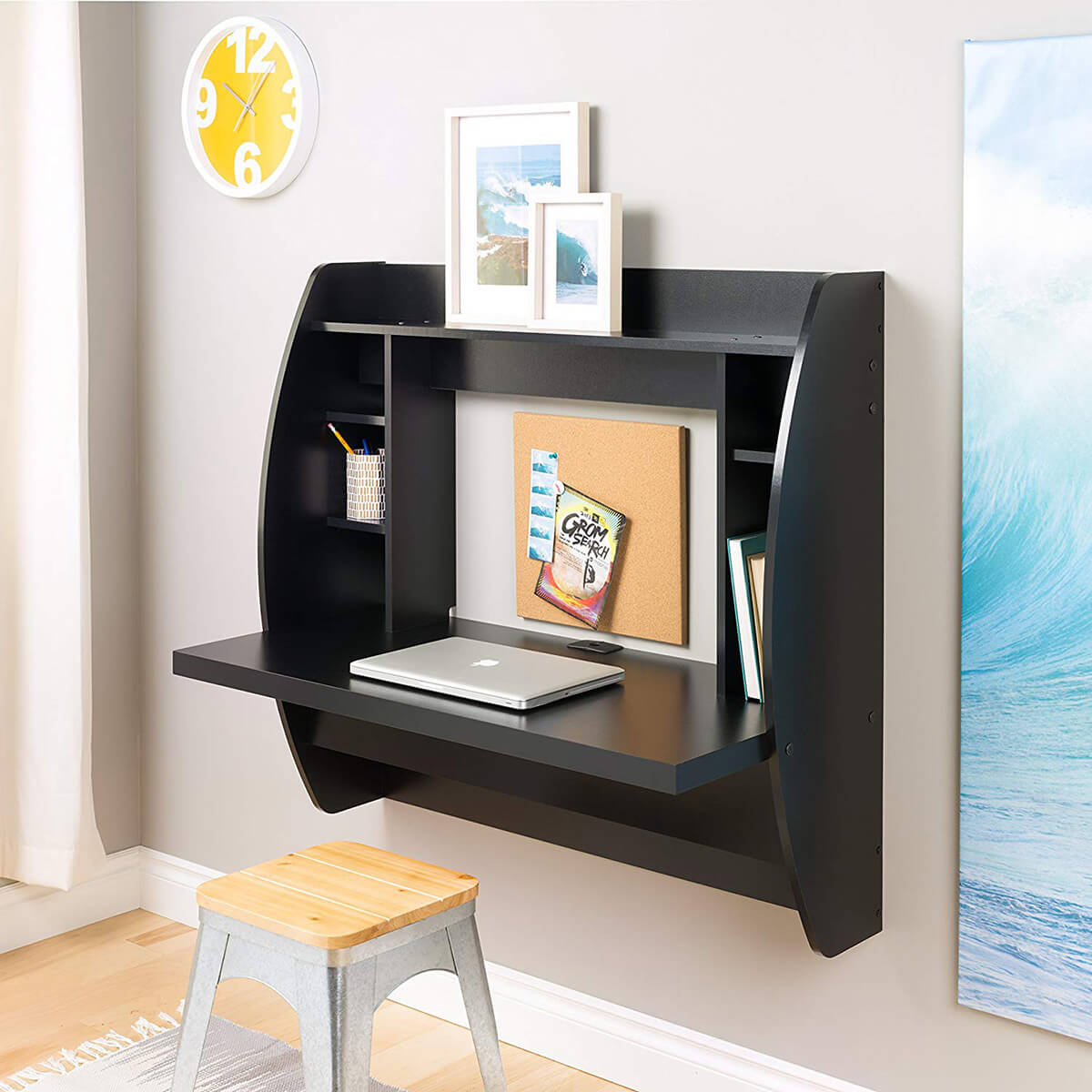 Black Student Style Wall Desk Idea